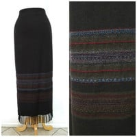 Vintage Brown Long Wool Skirt with Fringe Made in USA Size 14 Large