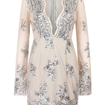 Beige Plunge Neck Sequins Long Sleeve Dress