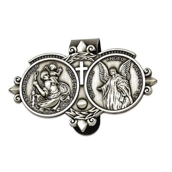 St. Christopher & Guardian Angel Sun-visor Clip - Perfect Religious Gift