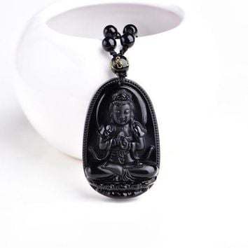 ac spbest High Quality Unique Natural Black Obsidian Carved Buddha Lucky Amulet Pendant Necklace For Women Men pendants  Jewelry