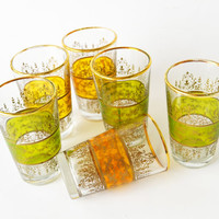 1960s Scotch Whisky Glasses Mid Century Barware Gold Trim Set of Six