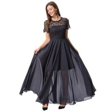 Short Sleeve Evening Dresses Long Lace Formal Dresses Floor Length Black Evening Gown Mother of the Bride Dress