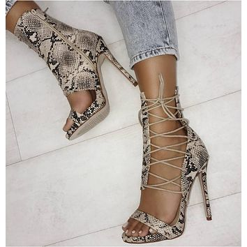 Snake Strappy Hollow Women Fashion Peep Toe High Heels Shoes