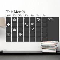 Chalkboard Calendar Black Wall Decal