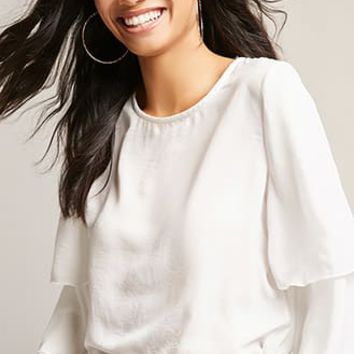 Button-Front Ruffle-Sleeve Top