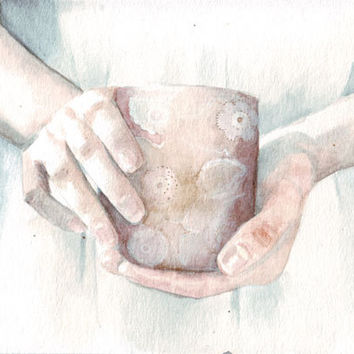 Original watercolor painting Winter Tea art