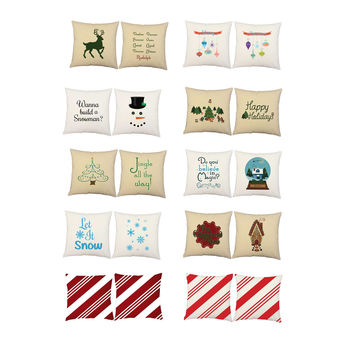 Set of 2 RoomCraft Christmas Holiday Pillow Covers/Cushions: Christmas Ornaments Square Covers Only 14x14 inches - White Indoor/Outdoor