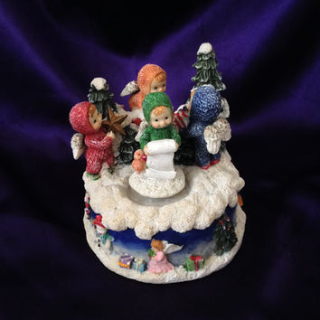 Christmas Music Box, Rotating Colorful Snow Babies Style Angel Children, Santa Claus Is Coming To Town, Artmark Wind Up Display