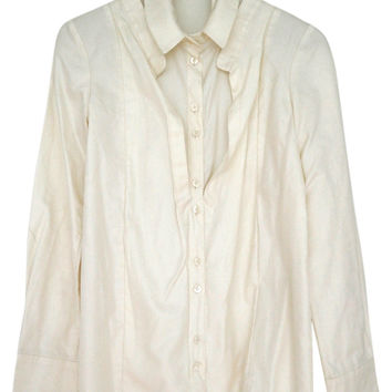Cream Silk Cotton Blend Shirt Blouse Sz Small Button Down Shirt (Anthropologie)
