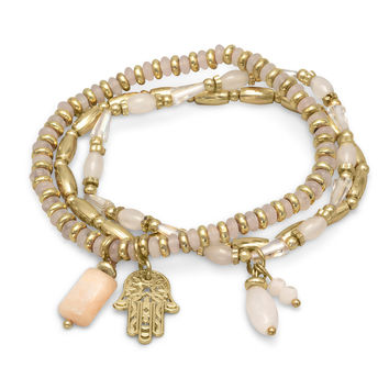 White and Rose Quartz Bead and Gold Tone Hamsa Charm 3 Piece Bracelet Set