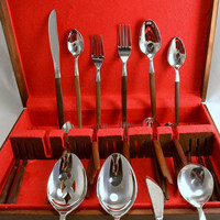 Ekco Eterna Canoe Muffin - Service for 6 - Serving Flatware w Wood Box - Iced Tea Spoons, Forks, Knives, Spoons, Butter Knife Danish Modern