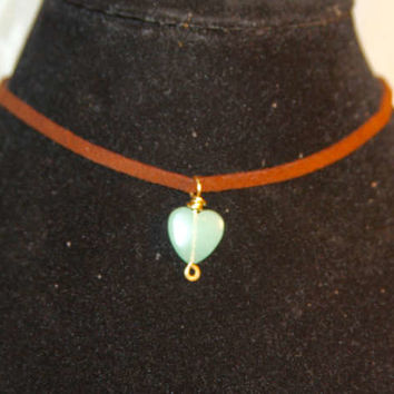 Heart Choker, Aventurine Choker Necklace, Charm Necklace, Gemstone Choker, Gifts for Her