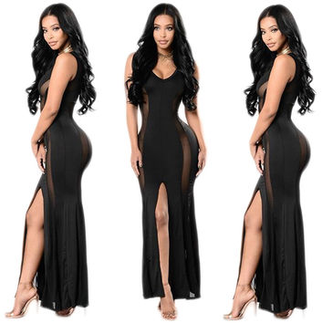 Black Sleeveless Mesh Insert Slit Evening Dress