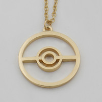 Pokeball Pokemon SteamPunk Anime 14K Gold Filled Gamers Necklace