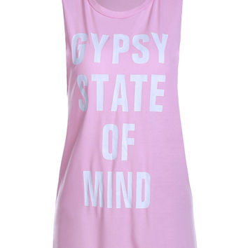 """Pink """"GYPSY STATE OF MIND"""" Laced Hem Tank Top"""