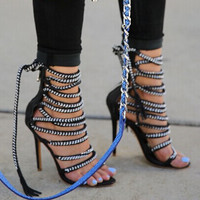 Sexy Open Toe Gladiator Sandals Women Rope Gold Chain Genuine Leather Lace Up Sandals Ankle Fashion High Heel Shoes Woman Sandal