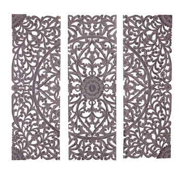 The Must Have Set of 3 Wood Carved Wall Panel
