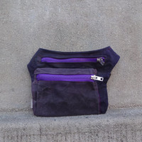 Waxed Canvas Hip Bag, Dull Violet Waxed Canvas Belt Bag, Fanny Pack, Festival Bag, Travel Pouch