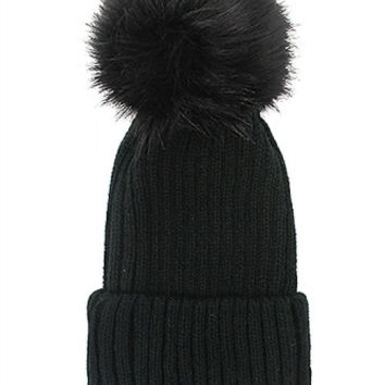 Fox Fur Pom Pom Beanie, Vintage Knit Hat - Black