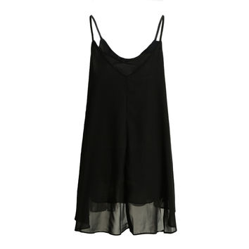 V Neck Spaghetti Strap Chiffon Mini Slip Dress in Black