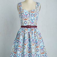 Critters Mid-length Sleeveless Fit & Flare Hand in Handicraft Dress