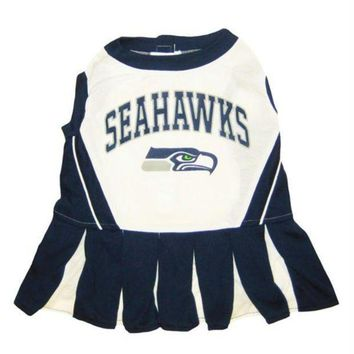 LMFON Seattle Seahawks Cheerleader Pet Dress