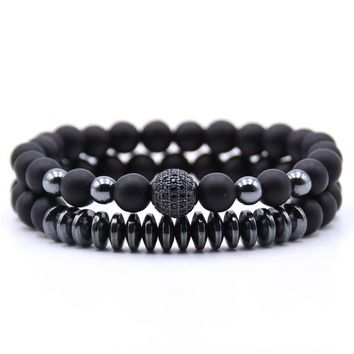 2pc/Set Lava Rock Beads and Heavy Metal - 4 Color Options