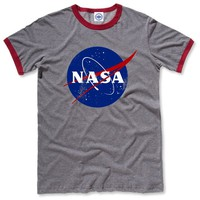 Hank Player 'Official NASA Logo' Men's Ringer T-Shirt (L, Heather Grey)