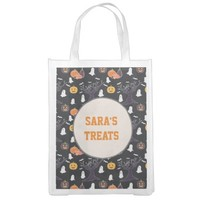 Pumpkins and Ghosts, Halloween Tote Grocery Bag