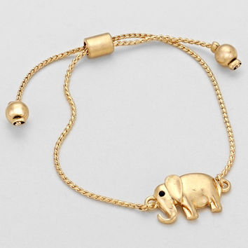 Adorable Vintage Elephant Cord Bangle Cuff Bracelet - Gold