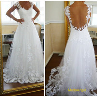 Backless Lace Wedding Dress Custom-made Straps White Lace Ball Gown Wedding Dresses