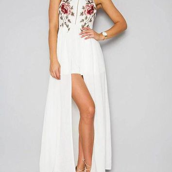 Floral Prints Backless Slit Womens Long Maxi Dress
