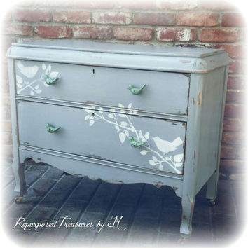 Distressed Antique dresser, shabby chic dresser, stenciled dresser, 2 drawer dresser, Rustic dresser, gray dresser, nursery furniture