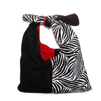 Zebra Purse Black White and Red