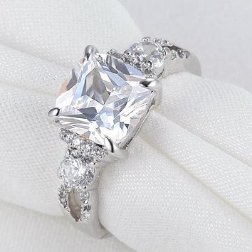 SHIPS FROM USA Princess Cut AAA CZ 925 Sterling Silver Wedding Ring For Women Engagement Band Classic Jewelry