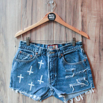 Cross Denim Shorts High Waisted Vintage Ripped Distressed Cross Religious Gothic Hand Painted