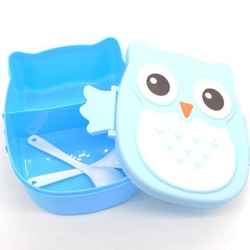 Kawaii Candy Color Owl Box Microwave Oven Bento Container Case Dinnerware Children Gift
