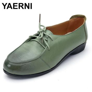 YAERNI Women Genuine Leather Shoes Lace-up Moccasins Women Loafers Soft Leisure Flats Female Casual Single Shoes Size 35-41