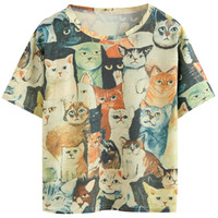 Cat Print Short Sleeve Graphic Tee