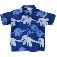 Baby Boy Batik Button Down Shirt - Elephants