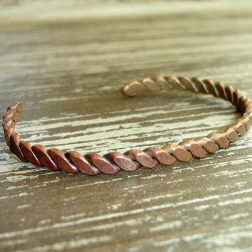 Vintage Copper Cuff, Boho Thin Twisted Hammered Rope Bracelet, Estate Jewelry, Bohemian Jewelry, Stackable, Mens Womens Unisex Accessory