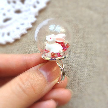 Rabbit and Beads Antique Silver Color Glass Globe  Ring