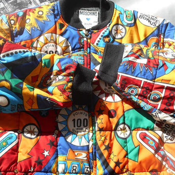 RARE Vintage MOSCHINO Jeans Pinball Bomber Jacket Mulicolored High Fashion Made in Italy Medium