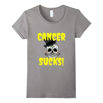 Cancer Sucks Top Hat Skeleton T-Shirt