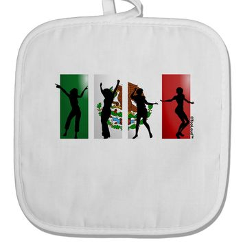 Mexican Flag - Dancing Silhouettes White Fabric Pot Holder Hot Pad by TooLoud
