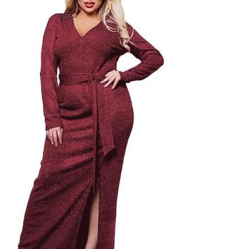 disco glitter Plus Size maxi Dress Slit Shiny Elegant Long party cocktail black burgundy red wine formal slinky