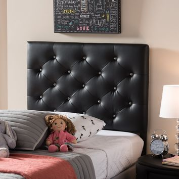 Baxton Studio Viviana Modern and Contemporary Black Faux Leather Upholstered Button-Tufted Twin Size Headboard  Set of 1