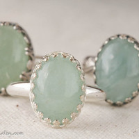 Aquamarine and Sterling Ring