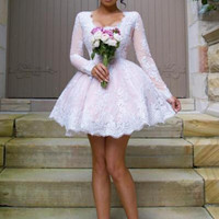 Pink Short Bridesmaid Dresses Cheap Scoop Long Sleeve Lace Wedding Party Dress Lace Appliques Maid Of Honor Gowns B159