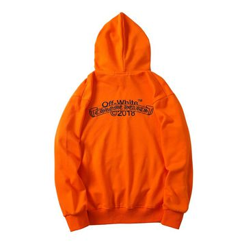 OFF-WHITE Autumn and Winter Tide Brand Embroidered Letter Hoodie Orange